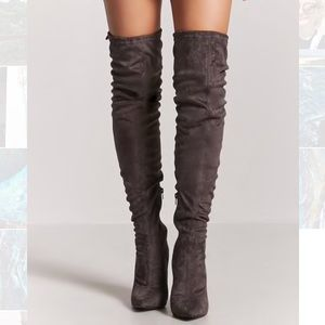 Faux Suede Over the Knee Grey Boots - Thigh High